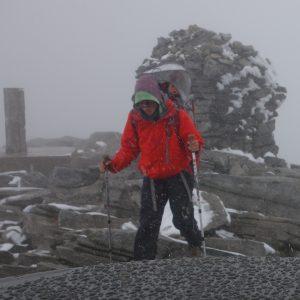 Gipfel im Schneeschauer