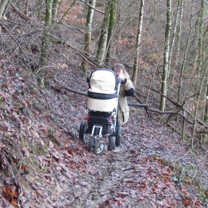 Pram on a steep hiking trail