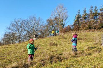 Kinder mit Familie springen über eine Wiese