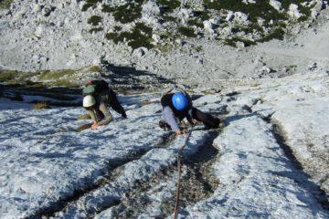 Mehrseillängen-Alpinklettern bei der Blaueishütte